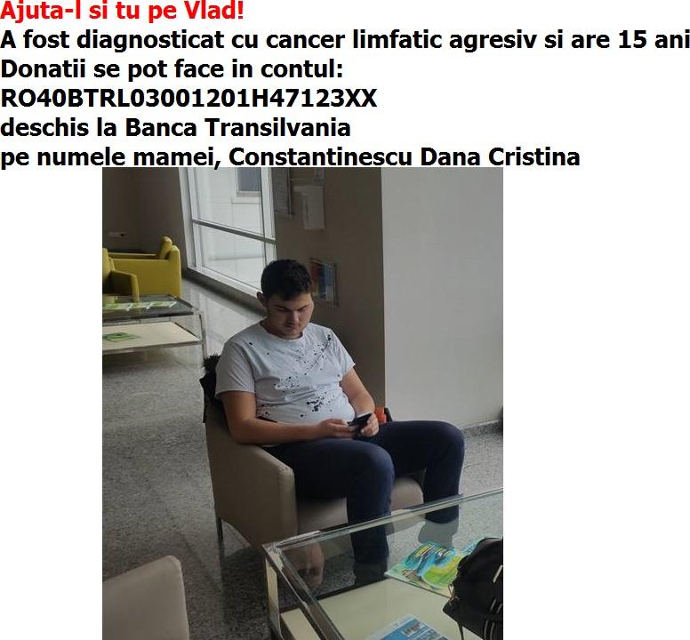 Tânărul VLAD CONSTANTINESCU (15 ani) poate fi salvat și cu ajutorul nostru!