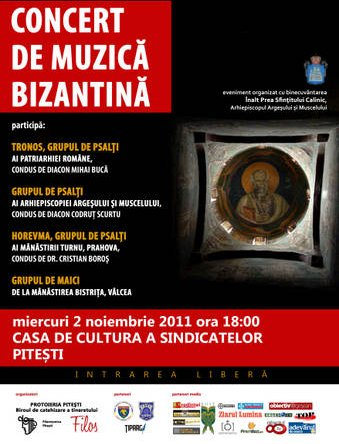 CONCERT DE MUZICA BIZANTINA LA PITESTI – 2 noiembrie