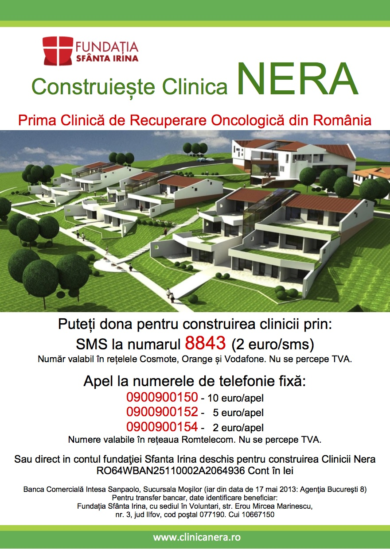 Campanie de strangere de fonduri pentru CONSTRUIREA PRIMEI CLINICI DE RECUPERARE ONCOLOGICA din Romania, <b>Clinica Nera</b>