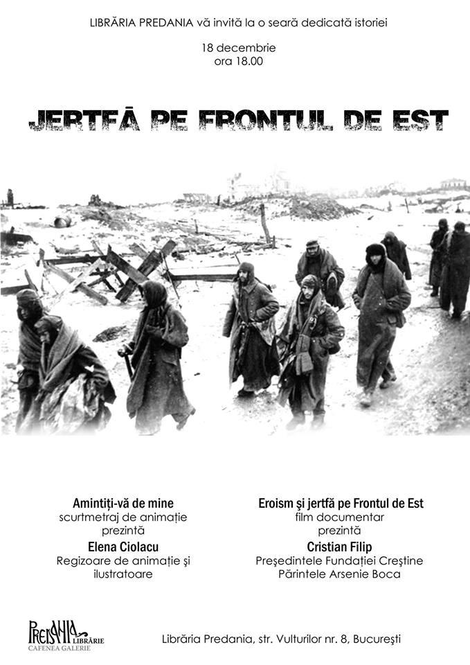 "<i>""JERTFA PE FRONTUL DE EST""</i> – seara dedicata istoriei la Libraria Predania"