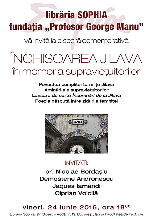 Seara comemorativa la Sophia: INCHISOAREA JILAVA IN MEMORIA SUPRAVIETUITORILOR