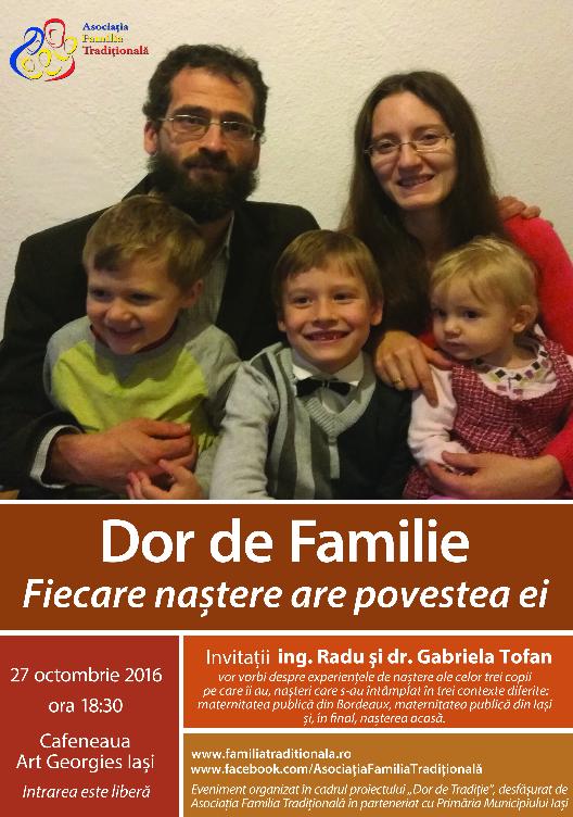 """DOR DE FAMILIE: <i>""""Fiecare naștere are povestea ei""""</i> – intalnire cu o familie cu 3 copii din Iasi, organizata de Asociatia """"Familia traditionala"""""""