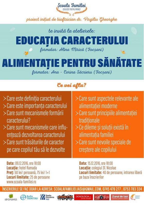"""Proiectul <i>""""Școala familiei""""</i> la Iași: ATELIERELE """"EDUCATIA PENTRU CARACTER"""" si """"ALIMENTATIA PENTRU SANATATE"""""""