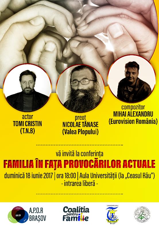 """Conferință APOR BRAȘOV, 18 iunie: <i>""""Familia în fața provocărilor actuale""""</i>"""
