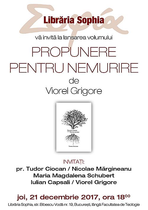 Lansare de carte la Sophia: PROPUNERE PENTRU NEMURIRE, de VIOREL GRIGORE