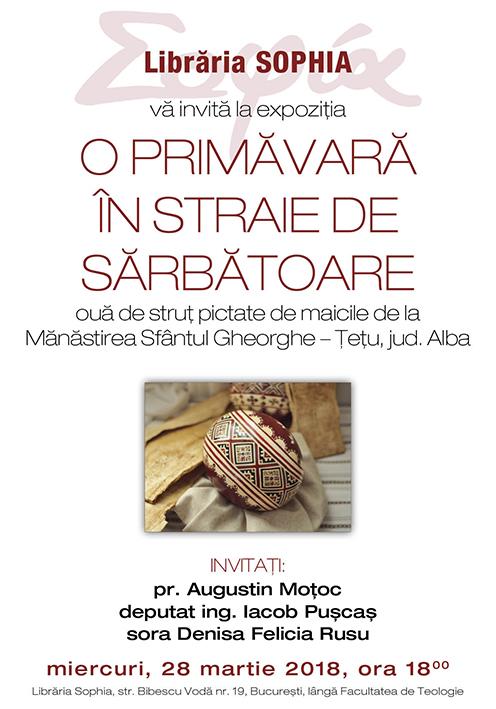 """Librăria Sophia vă invită la vernisajul expoziţiei <i>""""O primăvară în straie de sărbătoare""""</i> – expoziţie de ouă de struţ pictate de maicile de la Mănăstirea Sf. Mare Mc. Gheorghe – Ţeţu, jud. Alba"""