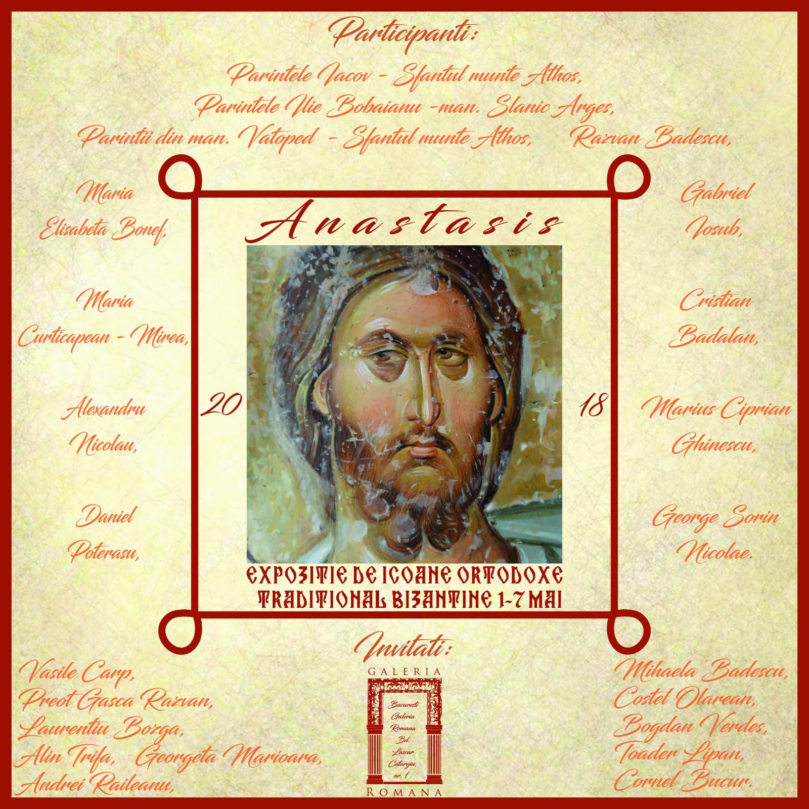 ANASTASIS – expoziție specială de icoane ortodoxe tradițional bizantine la GALERIA ROMANĂ. Vernisajul – duminică 6 mai