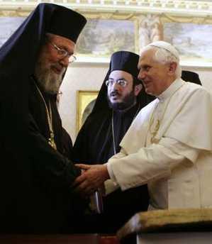 """Arhiepiscopul Ciprului vrea sa pedepseasca """"implacabil"""" eventuala opozitie a Bisericii fata de vizita Papei. INCITARE LA SCHISMA DIN PARTEA UNUI EPISCOP FILO-PAPISTAS"""