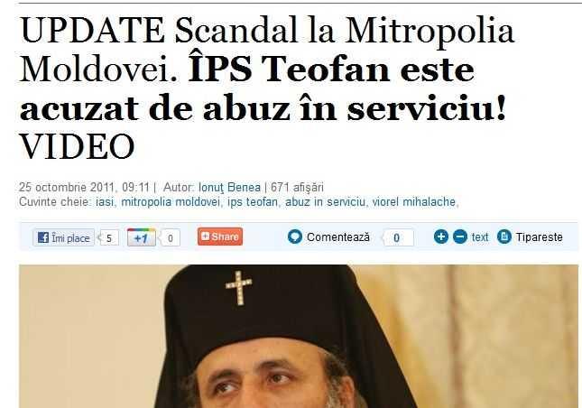 "Ziarul ""Adevarul"": campanie fatisa, plina de ura si furie oarba impotriva Bisericii Ortodoxe. ATAC GROSOLAN SI PROSTESC LA IPS TEOFAN"