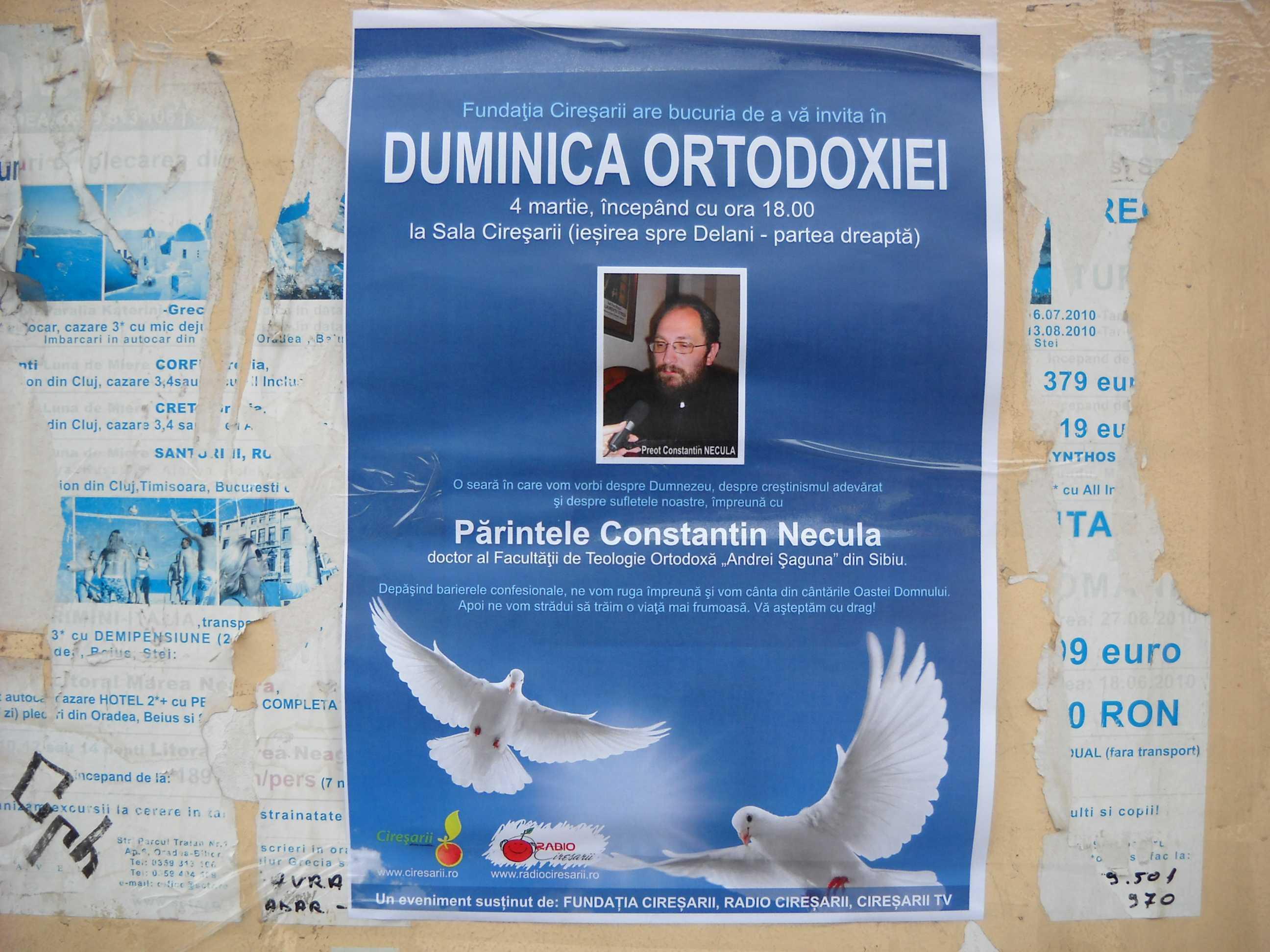 """PREOTUL CONSTANTIN NECULA conferentiaza la SECTARII PENTICOSTALI DIN BEIUS in Duminica Ortodoxiei, sub semnul <i>""""depasirii barierelor confesionale""""</i>"""