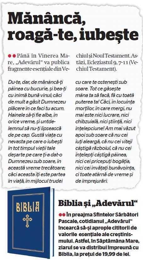 Cotidianul Adevarul vinde BIBLIA SECTARA. Patriarhia protesteaza, Radu Preda acuza