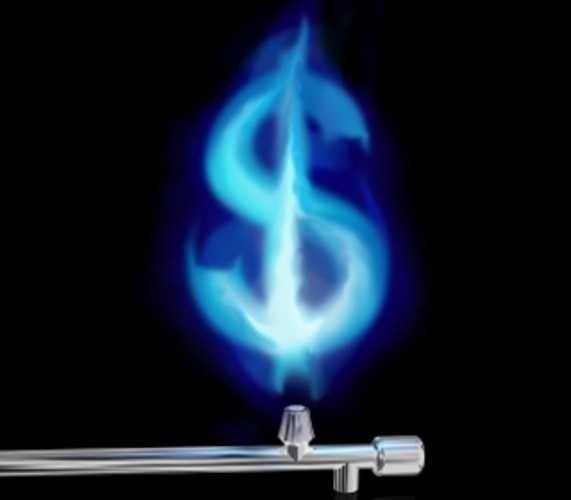 Illustration of a blue gas flame in the form of a dollar symbol