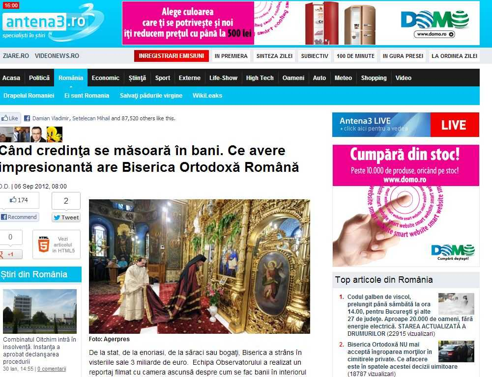 Manipulari mediatice pe tema AVERII BISERICII la Antena 3 (video)