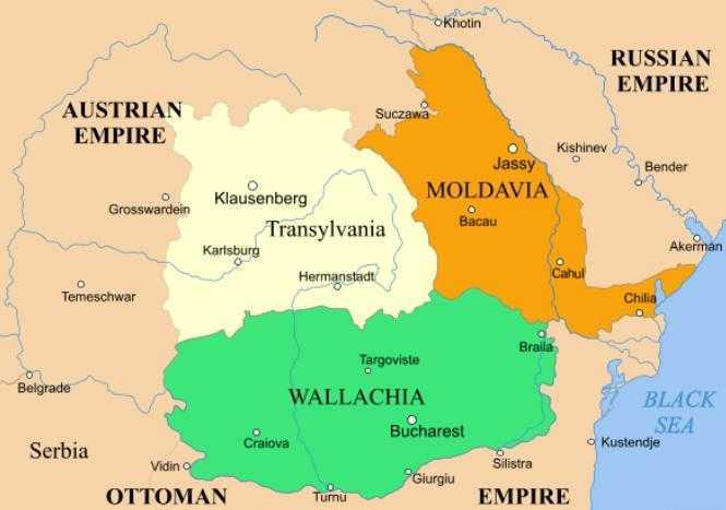 Harta principatelor romanesti 1856-1859