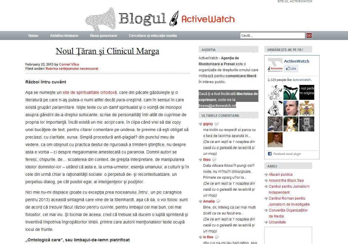"""Blogul ActiveWatch ataca Razboi intru Cuvant: <i>""""VREAU RAZBOI, FARA SCRUPULE, FARA MILA""""</i>. Revista băsistă Kamikaze: <i>""""SOLUTIA CU CRESTINII HOMOFOBI: VIOLENTA, NU ARGUMENTE!""""</i>"""