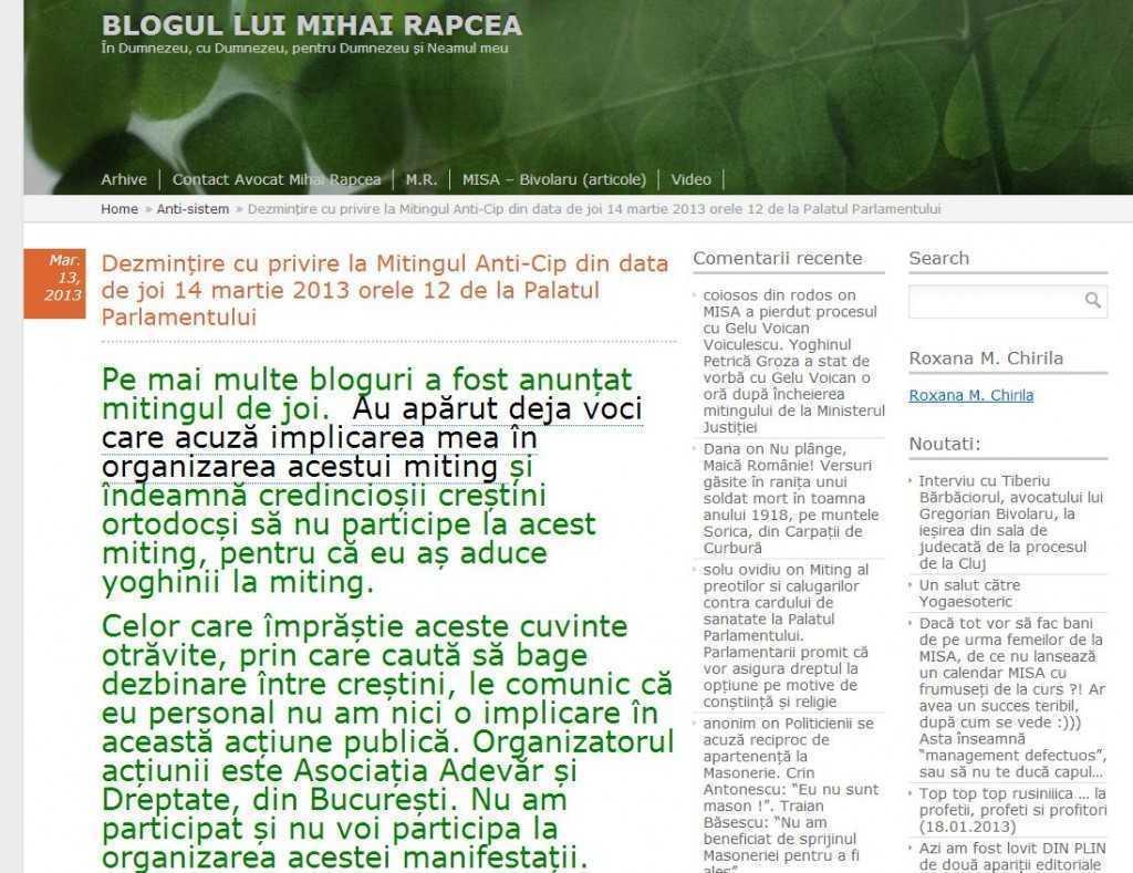 Captura 2, blog av. Rapcea, postare de pe 13 martie in care dezminte implicarea in mitingul de pe 14 martie 2013