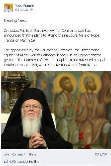 FARA PRECEDENT DE LA SCHISMA DIN 1054: Patriarhul Ecumenic Bartolomeu va participa la inscaunarea PAPEI FRANCISC