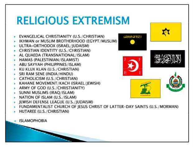 ARMATA SUA: catolicii si evanghelistii trecuti la GRUPARI EXTREMISTE, alaturi de AL QAEDA si KKK, intr-un material de TRAINING