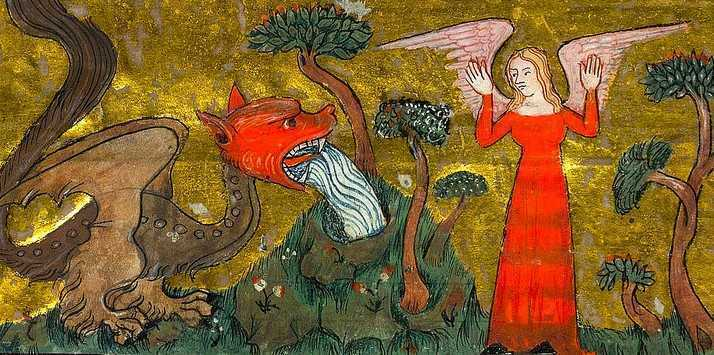 Devil attacks winged woman. Apocalypse. France c.1370-90