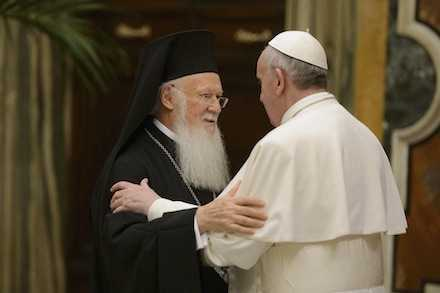 Pope Francis embraces Ecumenical Patriarch Bartholomew of Constantinople at Vatican