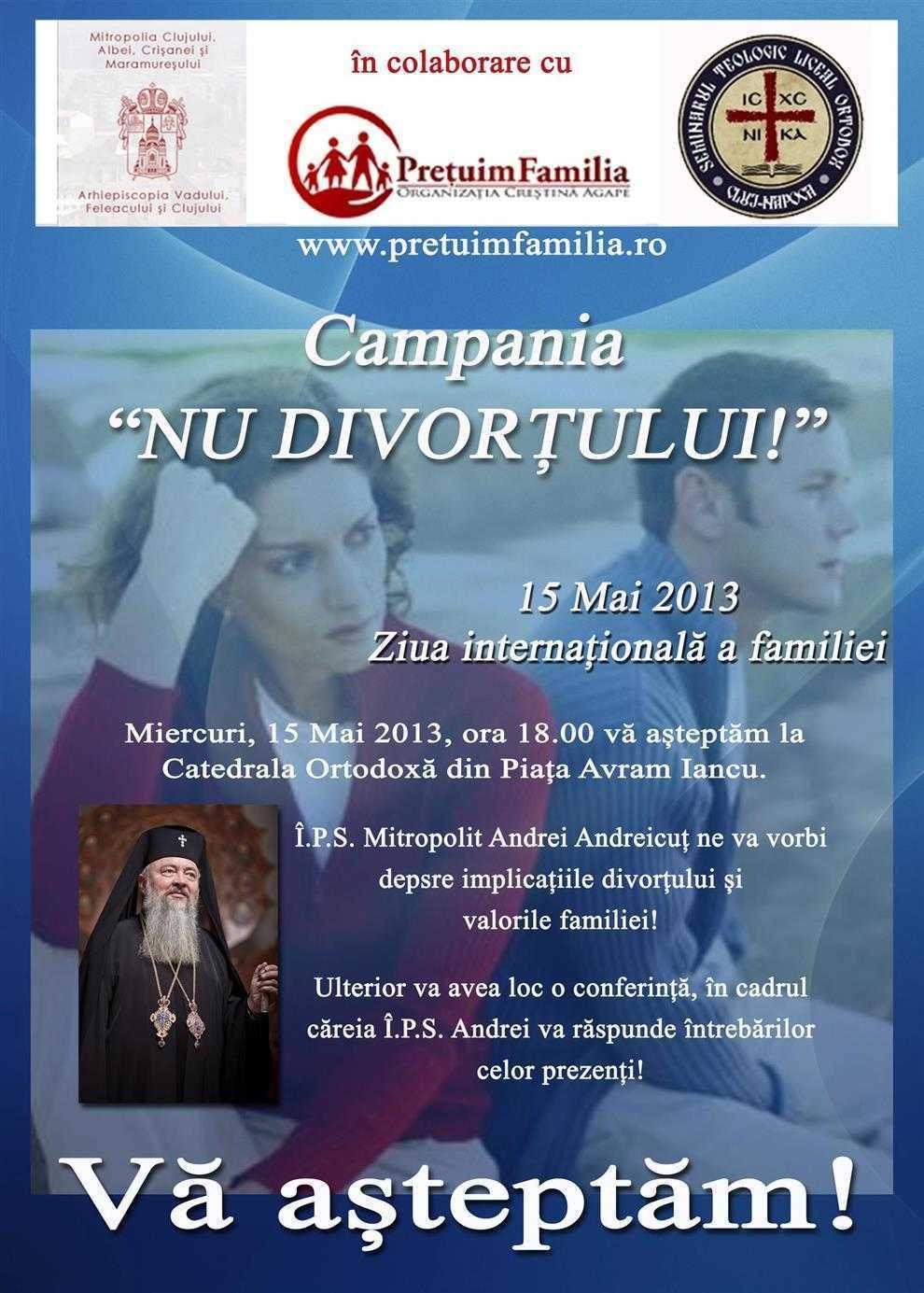 """IPS Andrei Andreicut in campania pentru FAMILIA CRESTINA <i>""""Nu divortului!""""</i>"""