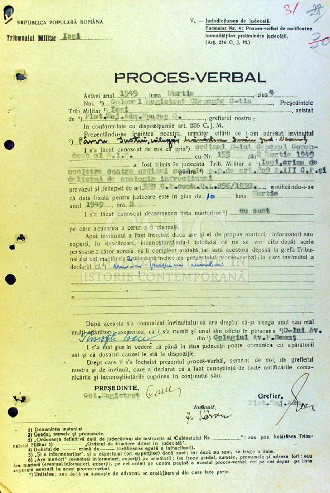 Proces verbal de trimitere în judecată a părintelui Iustin Pârvu, din martie 1949. Doc. Centrul de Studii în Istorie Contemporană