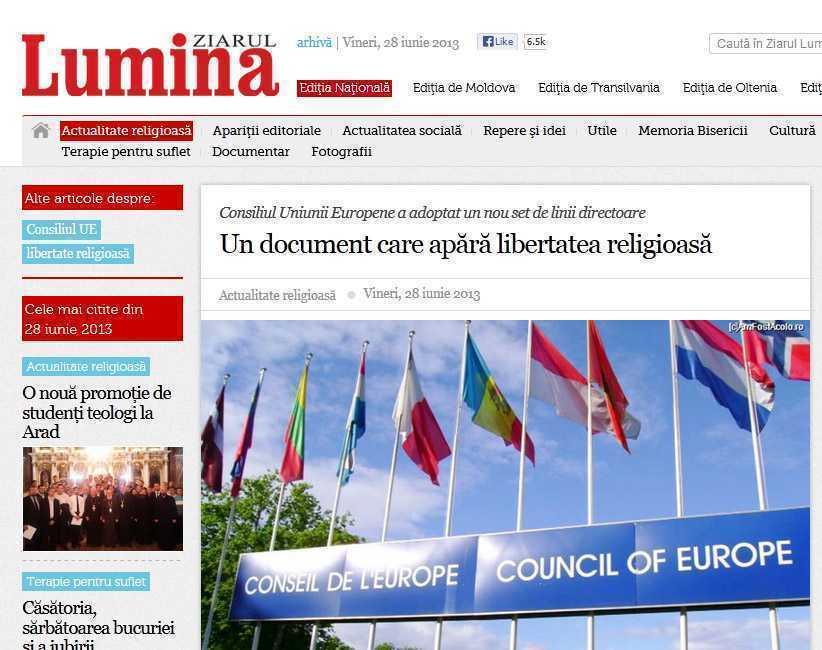 """ORTODOXIA TINERILOR despre derapajul rusinos al <i>ZIARULUI LUMINA</i>: evocare slugarnic-laudativa a unui DOCUMENT EUROPEAN ce ar <i>""""apara libertatea religioasa""""</i>, INTERZICAND INSA """"DISCRIMINAREA"""" HOMOSEXUALILOR!"""