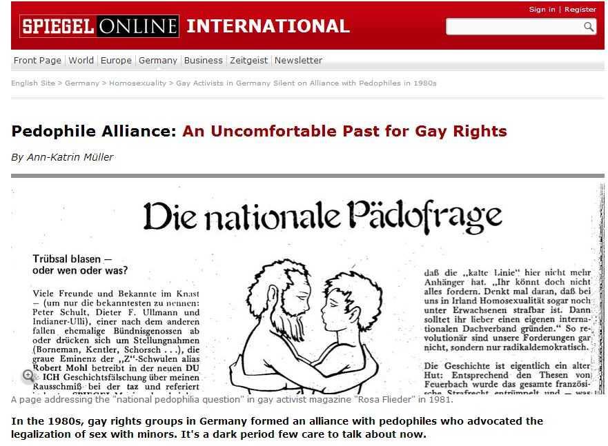 Der Spiegel despre ALIANTA ISTORICA DINTRE GRUPARILE PRO-HOMOSEXUALITATE SI PRO-PEDOFILIE/ <b>Esti crestin? Te arestam! Esti crestin? Te reeducam! REPRIMAREA LIBERTATII RELIGIOASE, o realitate care ne priveste si pe noi</b>