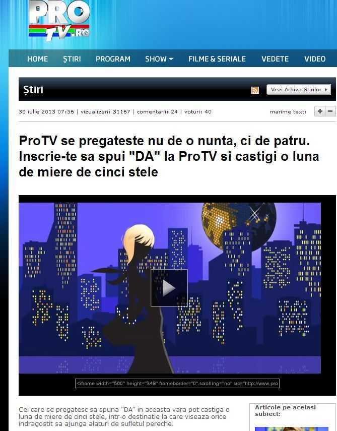 """Update – PRO TV PREGATESTE MAREA REEDUCARE PRIN DIVERTISMENT: <b>Emisiunea """"Patru nunti si-o provocare"""" va promova un CUPLU HOMOSEXUAL, care va fi """"CUNUNAT"""" de o """"preoteasa"""" protestanta!</b>"""