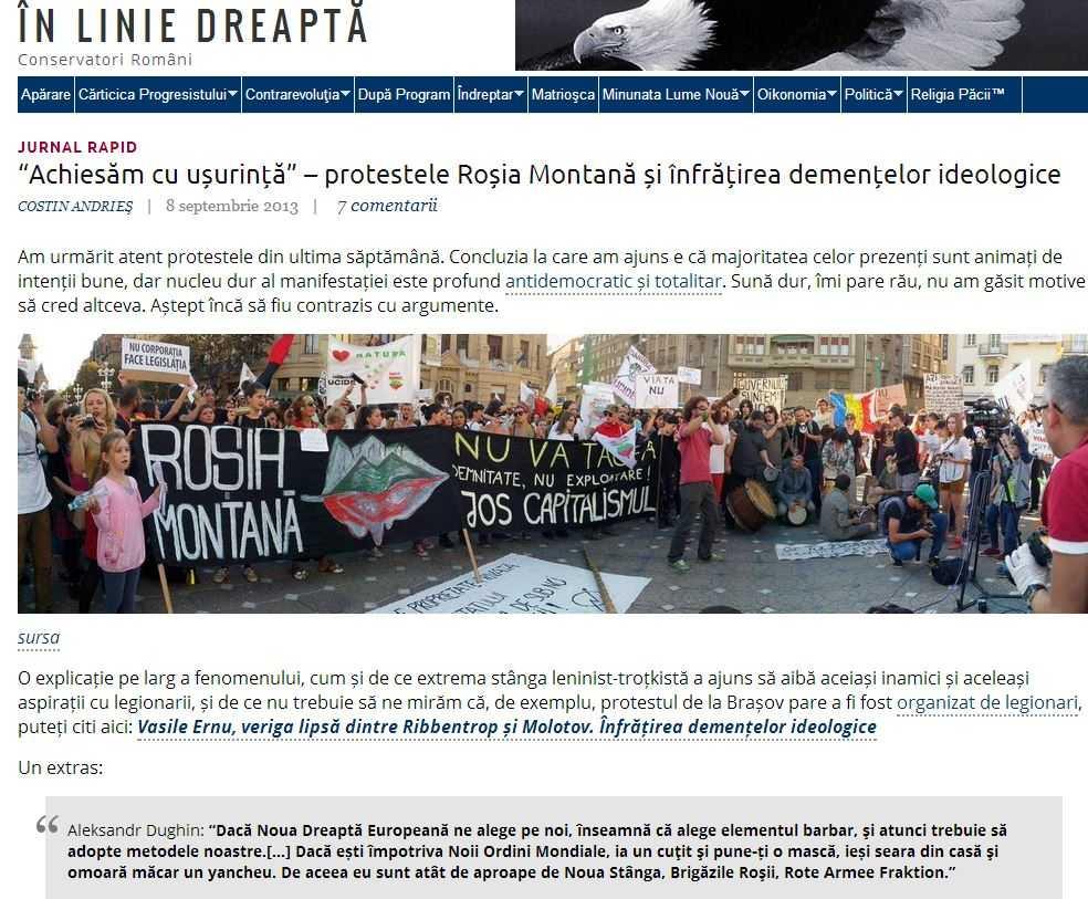 Site-ul neoliberal IN LINIE DREAPTA manipuleaza josnic si grosier cu privire la orientarea Razboi intru Cuvant