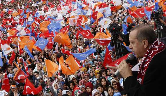 Turkey's Prime Minister Erdogan addresses his supporters during an election rally of his ruling AK Party in Elazig