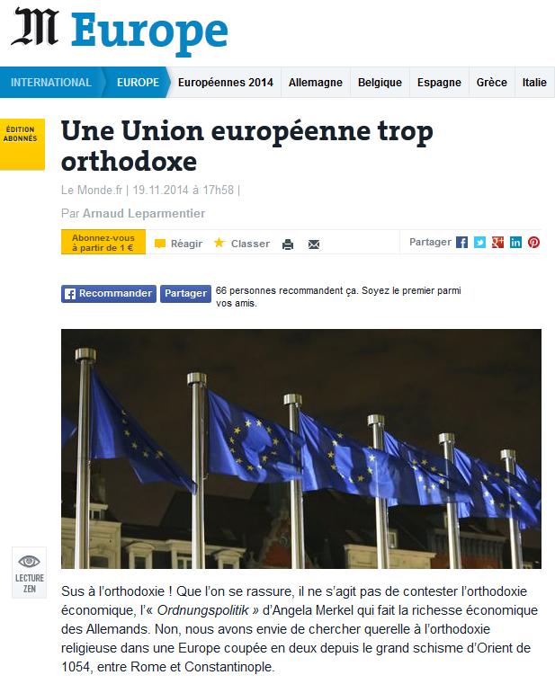 <b>O Uniune Europeana cu prea multi ortodocsi?</b> Editorialist al <i>Le Monde</i> comentand alegerile din România: <i>&#8220;DACA ORTODOCSII VOR DEVENI PROTESTANTI, MAI E O SPERANTA&#8221;</i>. <b>Ortodoxia &#8211; tapul ispasitor perfect</b>