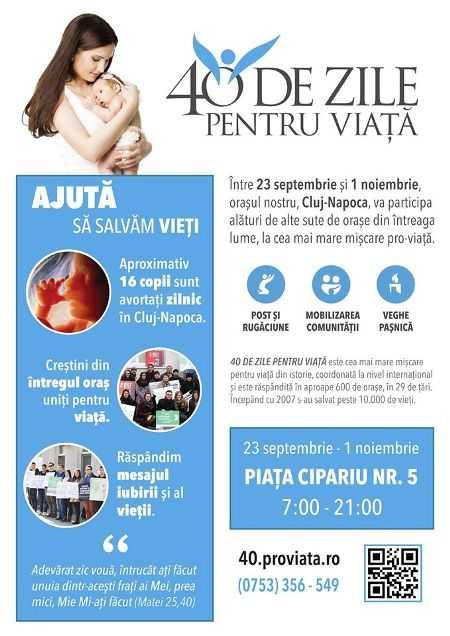 40 DE ZILE PENTRU VIATA – campanie a crestinilor ortodocsi din Cluj pentru PICHETAREA CLINICILOR CARE FAC AVORTURI
