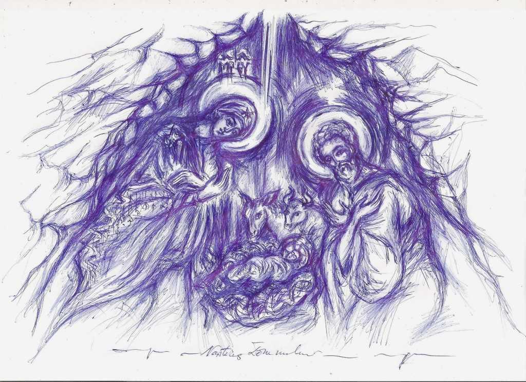 Nasterea Domnului – desen de Gabriela Mihaita David, decembrie 2014