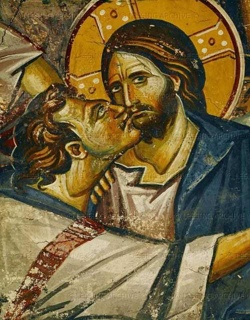 "Judas kisses Jesus. Detail from ""Judas' Betrayal"" Fresco"