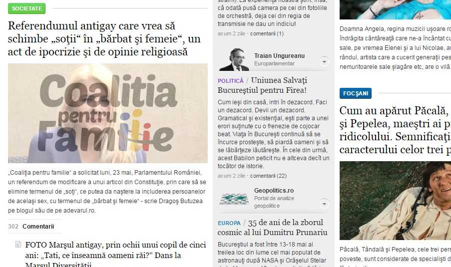 Cum prezinta Adevarul.ro demersul Coalitiei pentru Familie. Exemplu de manipulare nr 1. Captura din editia online de pe 25 mai 2015