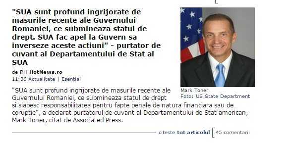 Stirea despre Departamentul de Stat al SUA care ar fi tras de urechi Guvernul României, un FAKE NEWS mai elaborat?