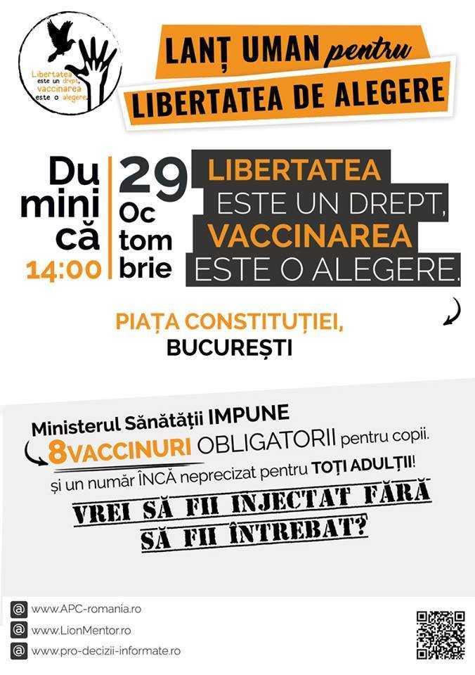"""PROTESTE împotriva VACCINĂRII FORȚATE a populației. LANȚ UMAN PENTRU LIBERTATEA DE ALEGERE – duminică 29 octombrie, Piața Constitutiei, Bucuresti. COSTEL STANCIU (APC) remarca, justificat, <i>""""GRABA cu care a trecut de Senat acest proiect de lege""""</i> si cu care SE FORTEAZA SUSPECT ACCELERAREA PROCEDURILOR DE ADOPTARE SI APLICARE a masurilor brutale ale legii. CINE VREA SA NE JOACE LA RULETA RUSEASCA?"""