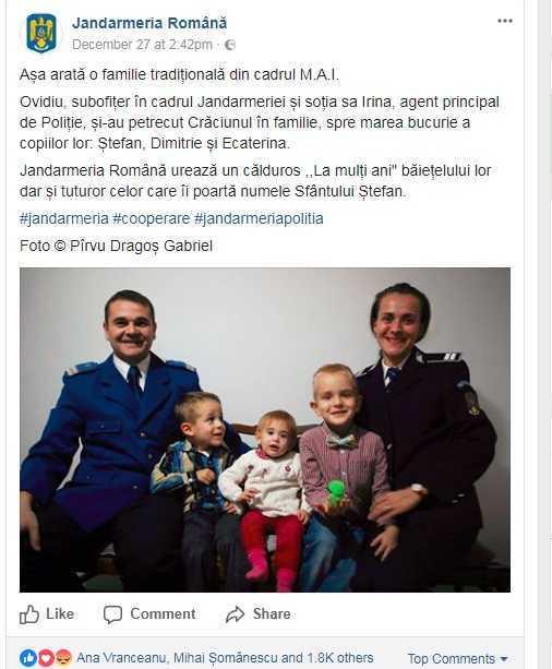 """REACTII FURIOASE fata de o postare a Jandarmeriei Române in care a fost folosita sintagma """"FAMILIE TRADITIONALA"""". Suntem mai aproape de delirul neobolsevic decat credem…"""