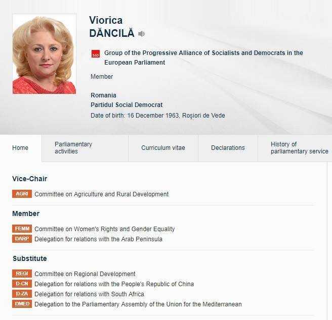 Propunerea PSD pentru premier, europarlamentara VIORICA DANCILA, o membra fidela a SOCIAL-DEMOCRATILOR europeni, inclusiv pe temele anti-familie. A sustinut si infamul Raport Estrela