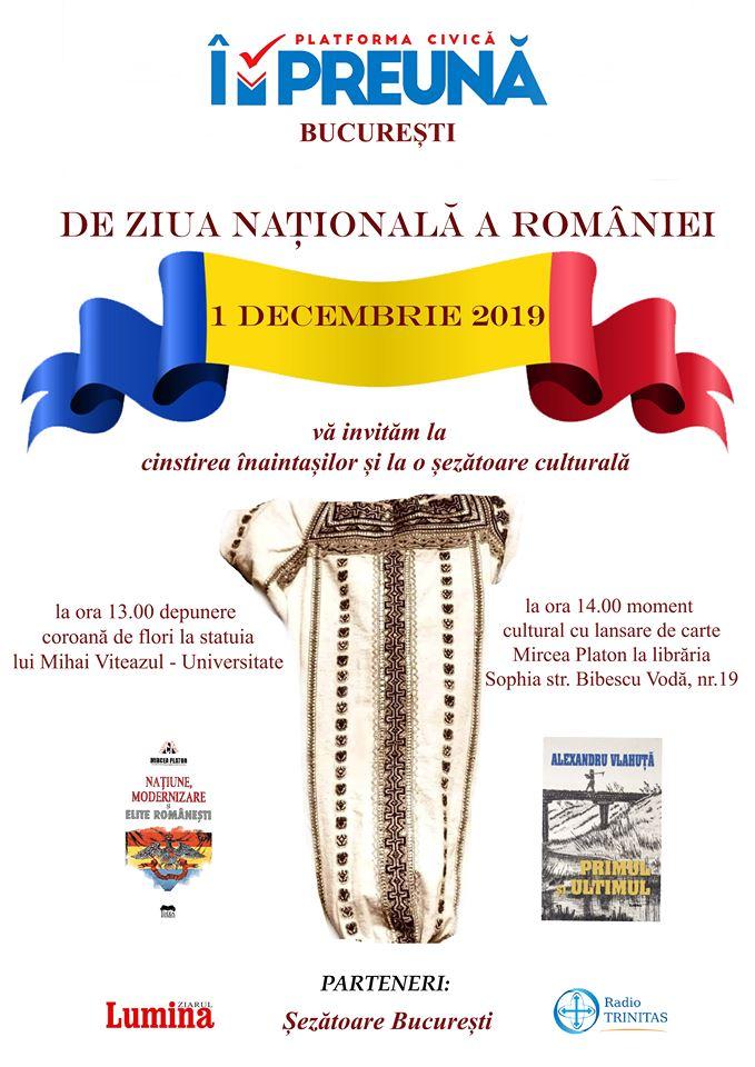 Șezătoare culturală de Ziua Națională a României, la LIBRĂRIA SOPHIA cu MIRCEA PLATON și MIHAI GHEORGHIU