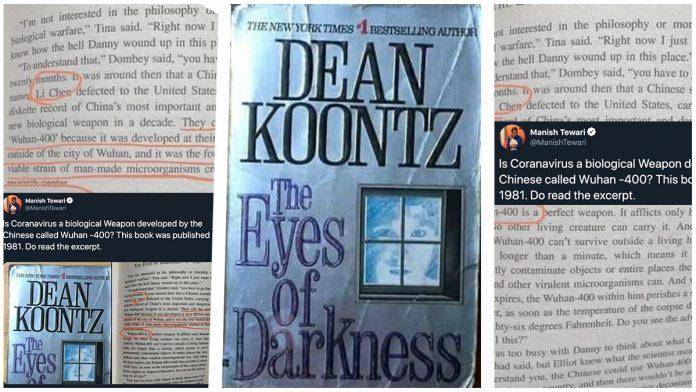 """<i>""""OCHII INTUNERICULUI""""</i> sau despre STRANIA """"PROFETIE"""" fictionala din 1996 a SCRIITORULUI AMERICAN Dean Koontz, despre un virus-arma biologica intitulat WUHAN 400"""
