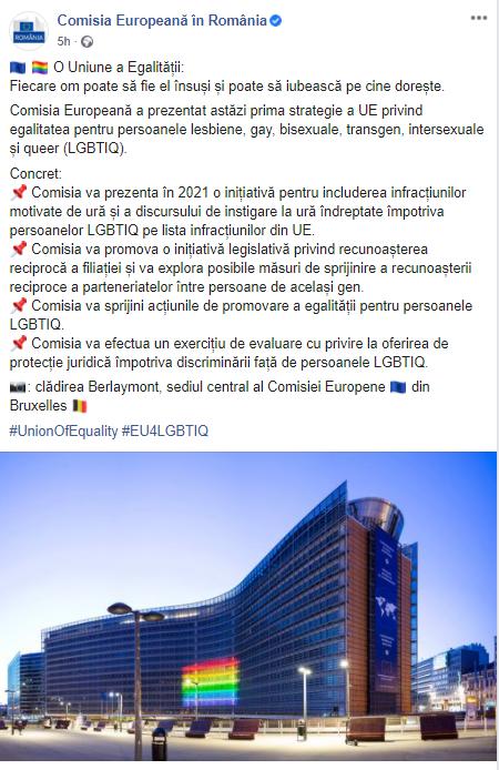 """Comisia Europeană adoptă o agendă pro-LGBT agresivă, bazată pe infracționalizarea """"DISCURSULUI DE INSTIGARE LA URĂ"""" și a altor fapte """"motivate de ură"""" față de persoanele gay sau trans"""