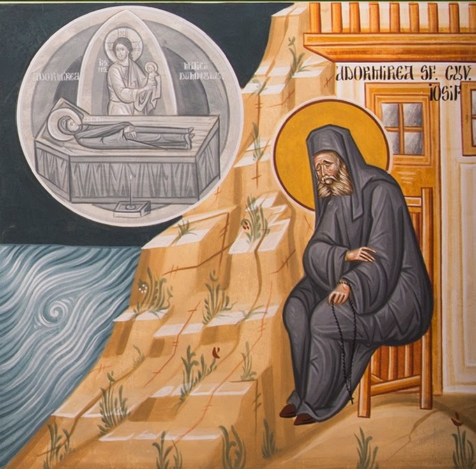The repose of Elder Joseph on the feast of the Dormition of the Theotokos
