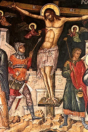 Wall-painting with the Crucifixion, by the Cretan painter Theophanis Strelitzas Bathas, 1535, Mount Athos, Monastery of the Great Lavra