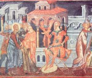 Naos.Peretele vestic.Hristos in fata lui Pilat-mare