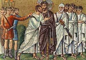 1. Поцелуй Иуды. Базилика Сан Аполлинаре Нуово. Равенна. Мозаика. 530-е гг.