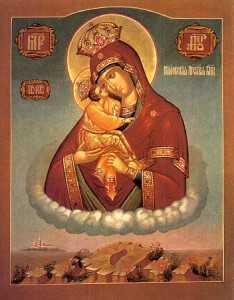 icoana si urma talpii Nascatoarei de Dumnezeu Pociaev