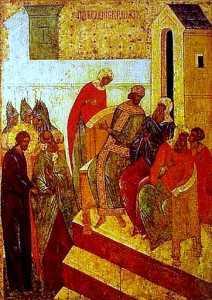 Mantuitorul in fata arhiereilor iudei Anna si Caiafa