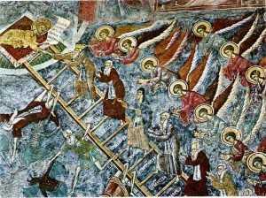 Scara Sfântului Ioan Sinaitul, pictată pe zidul nordic al Mănăstirii Suceviţa